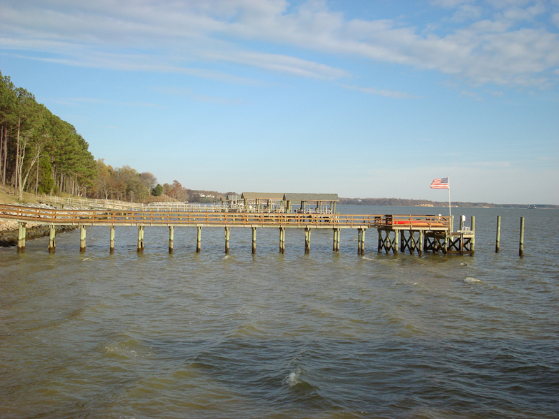 Pier and deck with boat slips, James River, James City County, Virginia