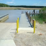 Lawnes Creek, Surrey County, Virginia - Boat ramp with synthetic tending piers and pilings