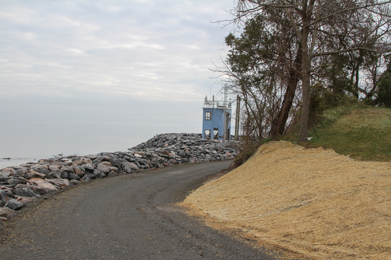 Breakwater with riprap revetment, road grading, and landscaping - Muses Beach