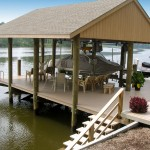 Residential boathouse, with 200' synthetic decking, boatlift, and slip