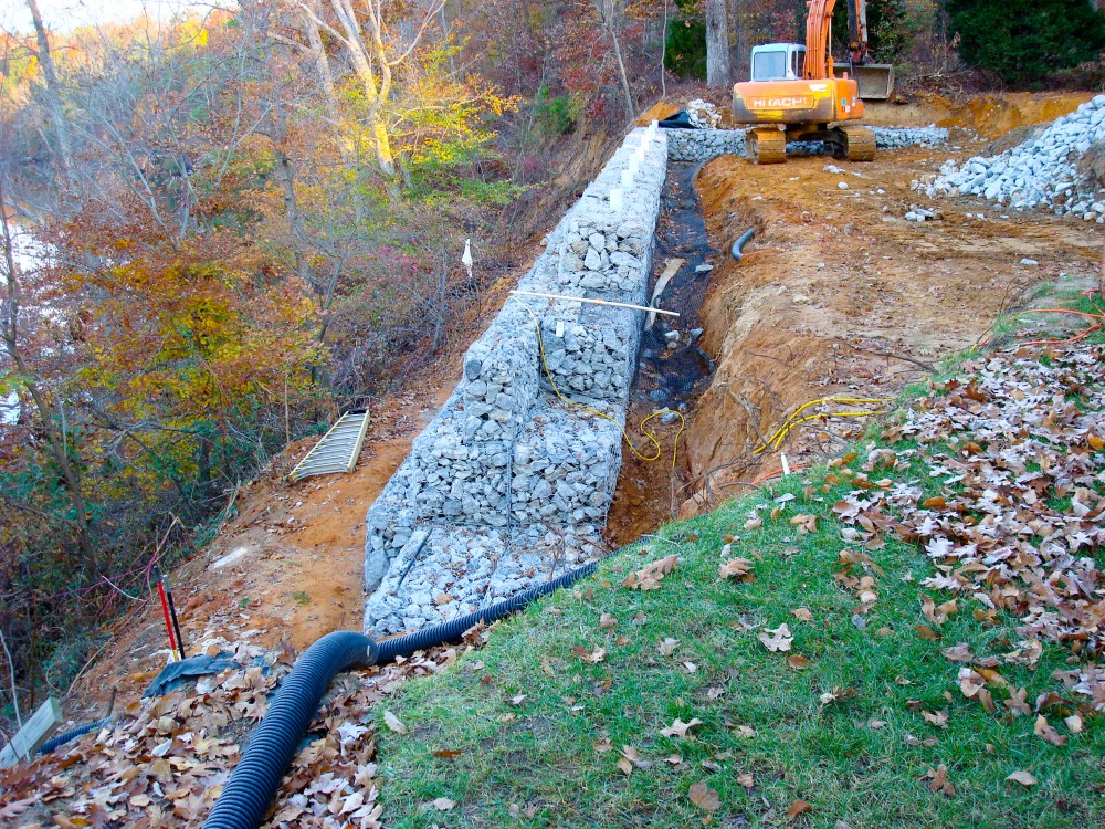 Gabion Basket Wall slope stabilization - during construction