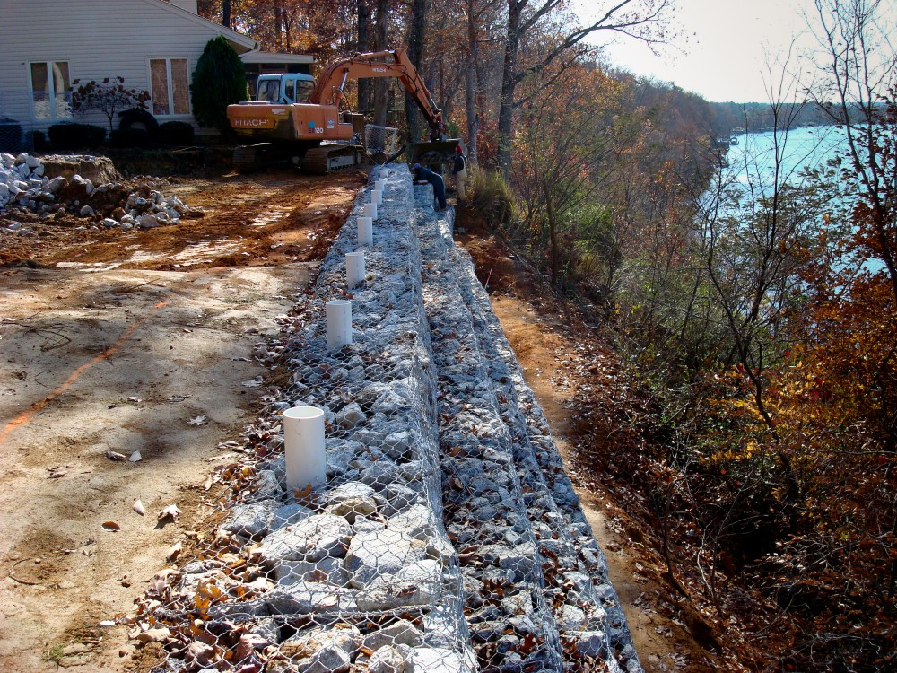 Gabion Basket Wall - nearing completion