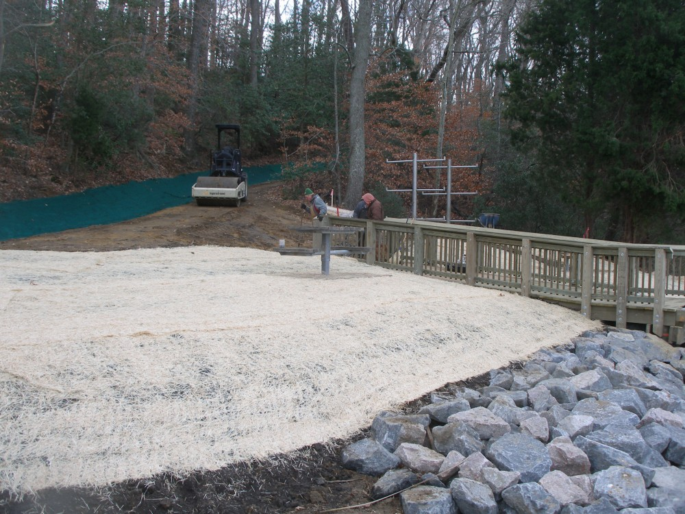 New Quarter Park, riprap and site stabilization