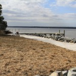 Shoreline stabilization project, riprap revetment - private residence, after - with dock