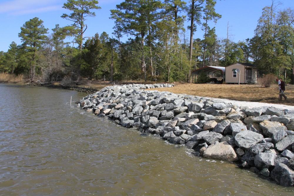 Shoreline stabilization project, riprap revetment - private residence, after